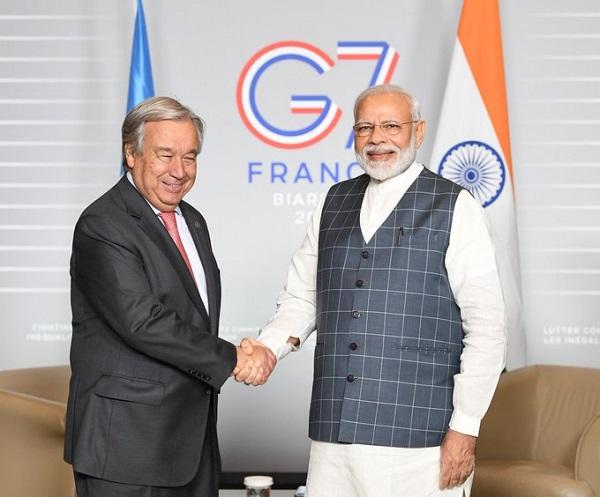 जी-7:  पीएम मोदी ने UN महासचिव एंतोनियो गुतारेस से की मुलाकात, जम्मू-कश्मीर मुद्दे पर हुई चर्चा